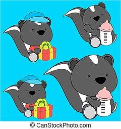sweet lovely baby skunk cartoon diaper set in vector format