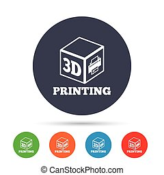 3D Print sign icon. 3d cube Printing symbol. Additive...