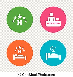 Five stars hotel icons. Travel rest place. - Five stars...