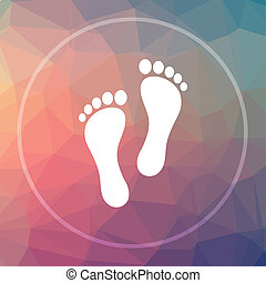 Foot print icon. Foot print website button on low poly...