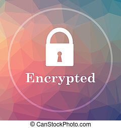 Encrypted icon. Encrypted website button on low poly...
