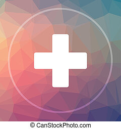 Medical cross icon. Medical cross website button on low poly...