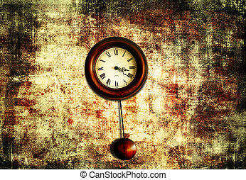 clock with pendulum hanging on a red old wall