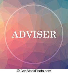 Adviser icon. Adviser website button on low poly background.