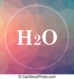 H2O icon. H2O website button on low poly background.