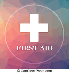 First aid icon. First aid website button on low poly...