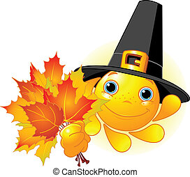 Sun with pilgrim hat holding autum - Cartoon Character of...