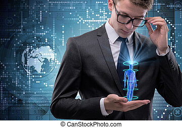 Futuristic remote diagnostics concept with businessman