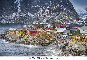 Traditional Norwegian Fishing Hut Village in Hamnoy During...
