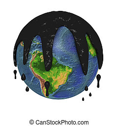 Polluted planet earth - One 3d planet heart covered of...