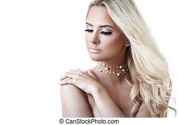 Lady with luxury jewellery - Young dreamy blond lady with...