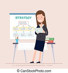 Business woman uses a tablet standing near the workplace. Poster business strategy. Folders with documents on the table. Flat character. Vector illustration.