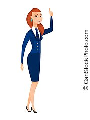 Stewardess with open mouth pointing finger up. - Caucasian...