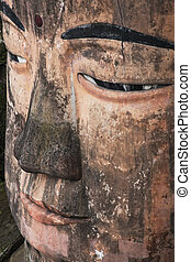 Close up of the Leshan Giant Buddha in Sichuan province...