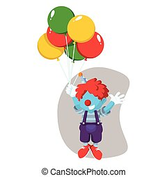 blue clown has flew by balloon