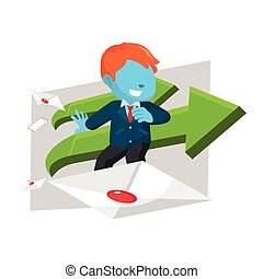 blue businessman surf with envelope