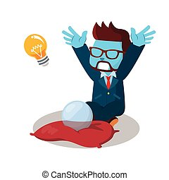 blue businessman wishing to have an innovation