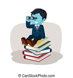 blue businessman on stack of book