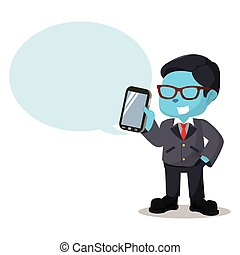 blue businessman holding phone with callout