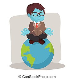 blue businessman meditating on earth