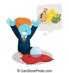 blue businessman wishing a lot of money
