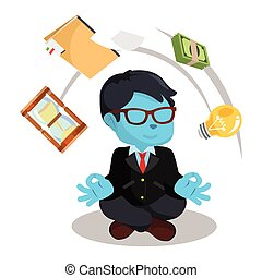 blue businessman meditate making things flying