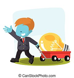 blue businessman pulling cart with giant bulb
