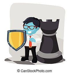 businessman with shield and rook chess piece