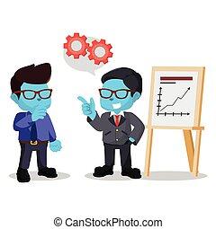 blue businessman explain the plan