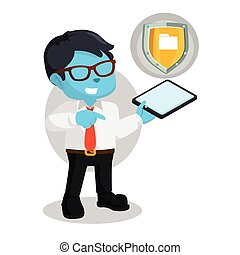 blue businessman with phone and shield