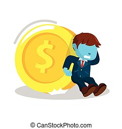 blue businessman trying to hold giant coin
