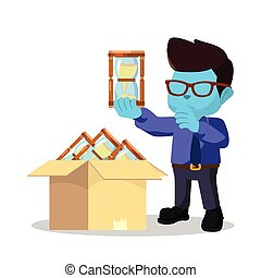 blue businessman choosing hourglass