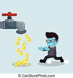blue businessman with money faucet
