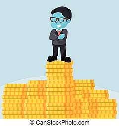 blue businessman on top of stack of coin
