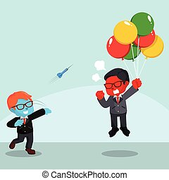 blue businessman throwing darts to flying red businessman