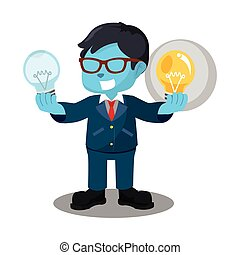 blue businessman holding functional bulb and unfunctional...
