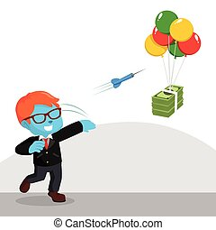 blue businessman throwing darts to flying money