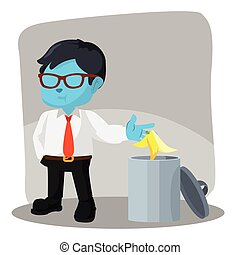 blue businessman throw banana peel in trash can