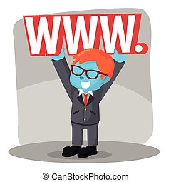 blue businessman lifting world wide web sign