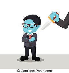 blue businessman with hand with knife