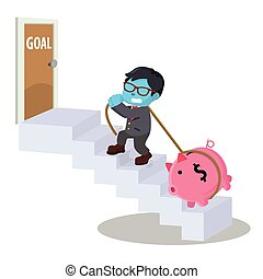 blue businessman stairs to goal