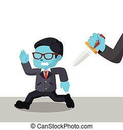 blue businessman run from hand with knife