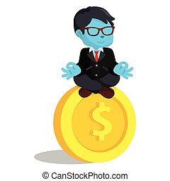 blue businessman meditating on giant coin