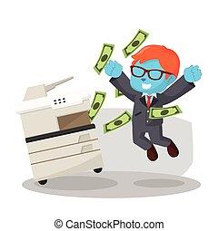 azul, hombre de negocios, Con éxito, copiado, dinero