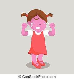 pink girl crying