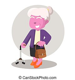 pink old woman holding walking stick and bag