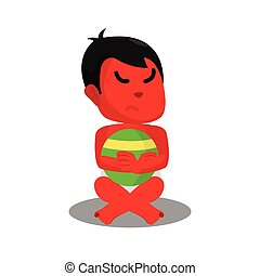 red baby.boy with angry face