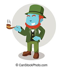 blue leprechaun holding cigar