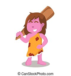 pink cave woman carrying a big club