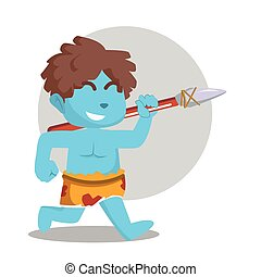 blue caveman running with stone spear